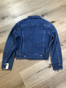 Kingspier Vintage - GWG (Great Western Garment Co.) denim jacket in a medium wash with snap closures and two flap pockets on the chest. Says size 12 fits XS. Canadian company.