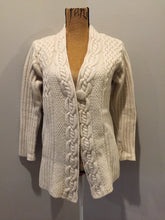 Load image into Gallery viewer, Kingspier Vintage - Vintage Inis Crafts merino wool cardigan in cream with one button closure at the collar. Size large.