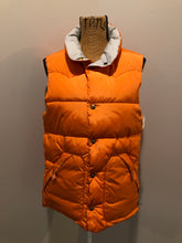 Load image into Gallery viewer, Scotch and Soda reversible orange and grey 1970's down filled puffer vest with snap closures and patch pockets. Made in Amsterdam.