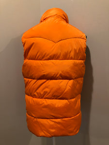 Scotch and Soda reversible orange and grey 1970's down filled puffer vest with snap closures and patch pockets. Made in Amsterdam.