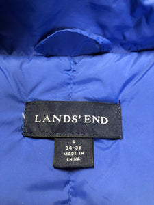 Land's End blue down filled puffer vest with snap closures and slash pockets. Size small.