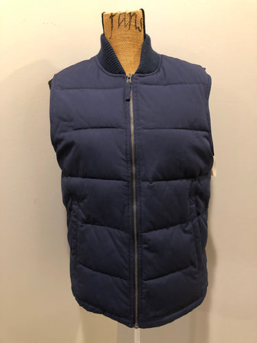 Merona navy blue puffer vest with zipper closure, slash pockets and inside pocket. Size small.