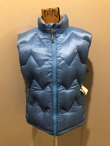 Eastern Mountain Sports periwinkle blue down filled puffer vest with zipper closure, zip pockets and zip inside pocket. Size medium.