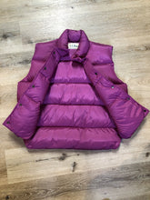 Load image into Gallery viewer, Kingspier Vintage - L.L.Bean dark pink down filled puffer vest with snap closures, slash pockets and is longer in the back. Size medium.