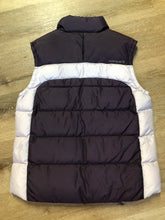 Load image into Gallery viewer, Columbia dark and light purple down filled puffer vest with zipper closure, vertical zip pockets and inside pocket. Size large.
