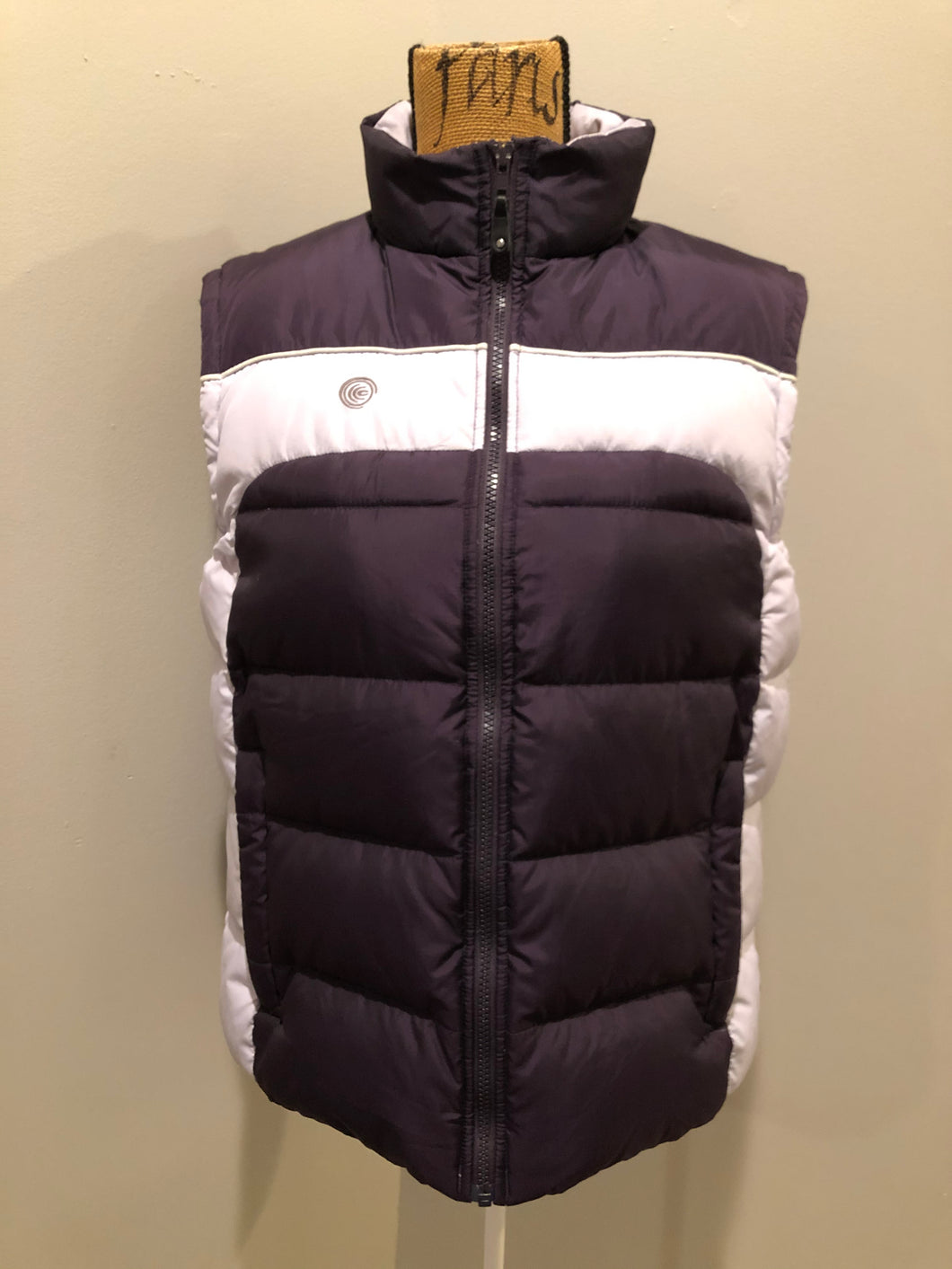 Columbia dark and light purple down filled puffer vest with zipper closure, vertical zip pockets and inside pocket. Size large.