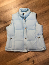 Load image into Gallery viewer, Alpinetek baby blue down filled puffer vest with zipper and snap closures, vertical zip pockets. Size large.
