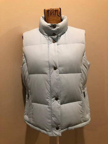 Alpinetek baby blue down filled puffer vest with zipper and snap closures, vertical zip pockets. Size large.
