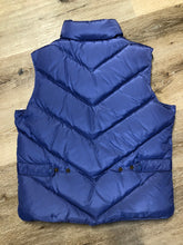 Load image into Gallery viewer, Eddie Bauer purple down filled puffer vest with zipper closure and slash pockets. Size medium.