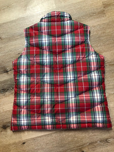 Land's End red/ green/ blue/ white plaid down filled vest with zipper closure and slash pockets. Size medium.