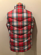 Load image into Gallery viewer, Land's End red/ green/ blue/ white plaid down filled vest with zipper closure and slash pockets. Size medium.