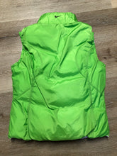 Load image into Gallery viewer, Nike white and green reversible down filled vest with zipper closure and slash pockets. size small.