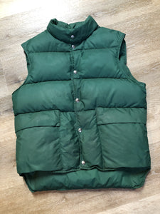 Kingspier Vintage - L.L.Bean forest green down filled puffer vest with snap closures, patch pockets and is longer in the back.