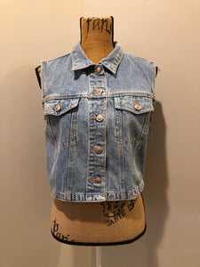 The Jeans Illegal Trademark denim vest with button closures and two flap pockets on the chest. Size medium.