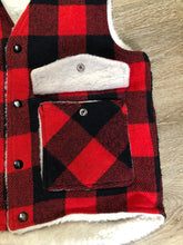 "Load image into Gallery viewer, Shane ""Weatherguard"" red and black plaid wool vest with snap closures and flap pockets. Made in the USA."