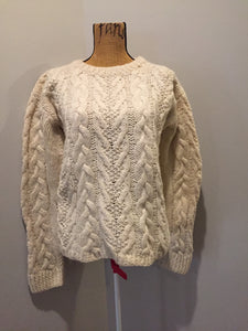 Kingspier Vintage - Dino Pisani cream coloured hand knit, cable knit wool jumper. Made in Italy. Size small.