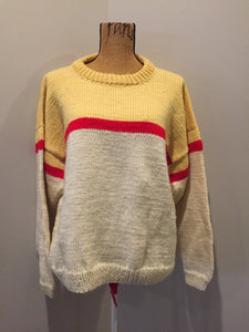 Cream,Yellow and Red Hand Knit Sweater