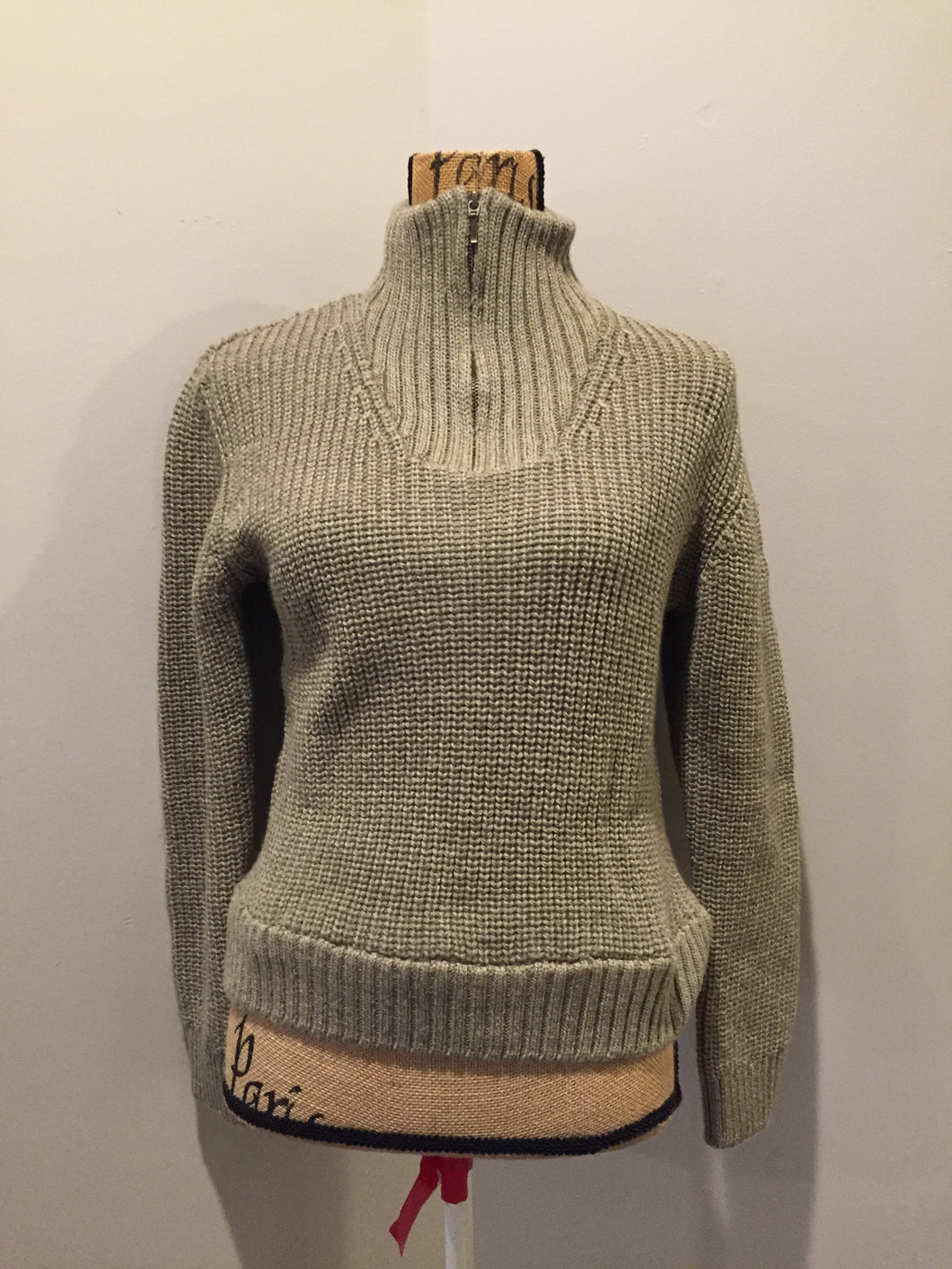 "Aran ribbed knit merino wool sweater. Made in Ireland. Size small. *Bonus* From the TV show ""Man in the High Castle"" stock."