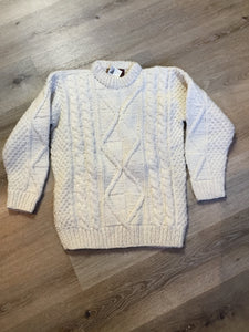 Kingspier Vintage - Ishka South American fisherman sweater in cream. Size medium.