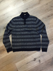Eddie Bauer Navy and Grey Wool Sweater