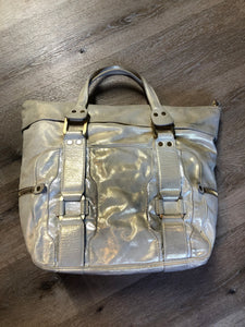 Kingspier Vintage - Authentic Jimmy Choo Melena XL tote in Iridescent white calfskin leather with zip closures, gold hardware and suede lining.