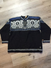 Load image into Gallery viewer, Kingspier Vintage - Dale of Norway black, white and blue 2002 Olympics wool sweater. Size XL.