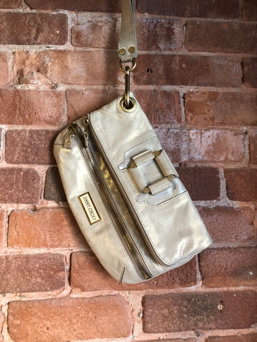Authentic Jimmy Choo Mave foldover clutch in Iridescent white calfskin leather with gold hardware, suede lining, magnetic snap and zip closures.