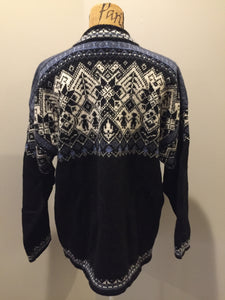 Kingspier Vintage - Dale of Norway black, white and blue 2002 Olympics wool sweater. Size XL.