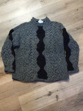 Load image into Gallery viewer, Hand Knit Black and Grey Wool Jumper