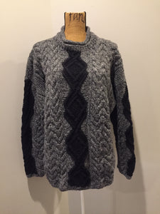 Hand Knit Black and Grey Wool Jumper
