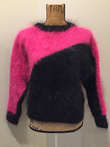 Kingspier Vintage - Hand knit hot pink and black mohair sweater with dolman sleeves. Size medium.
