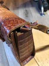 Load image into Gallery viewer, Rare brown reptile handbag with full alligator body detail, silver hardware, adjustable strap, leather lining and one inside zip pocket.