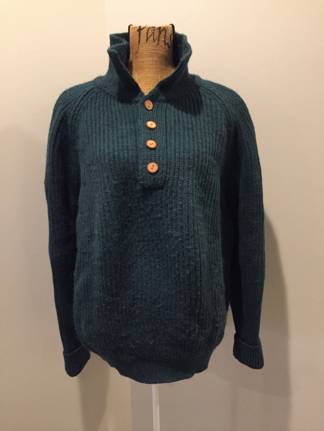 Kingspier Vintage - Great Northern Knitters green wool button up sweater. Made in Canada, Size M/L.
