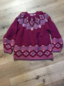 Kingspier Vintage - Ashley Sport hand knit wool Lpoi style sweater in magenta. Size large.