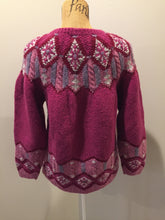 Load image into Gallery viewer, Kingspier Vintage - Ashley Sport hand knit wool Lpoi style sweater in magenta. Size large.