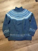 Load image into Gallery viewer, Hand Knit Blue Lopi Style Sweater