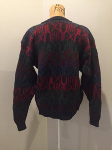 Kingspier Vintage - Woolrich grey/red/blue/green wool jumper. Size L/XL.