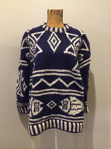 Amos & Andes Imports South American wool sweater in dark blue and white with fish motif. Size large.