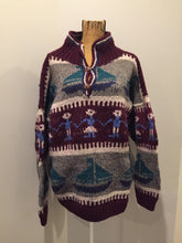 Load image into Gallery viewer, Amos & Andes Imports Multi-Coloured Wool Sweater with Sailboat Motif