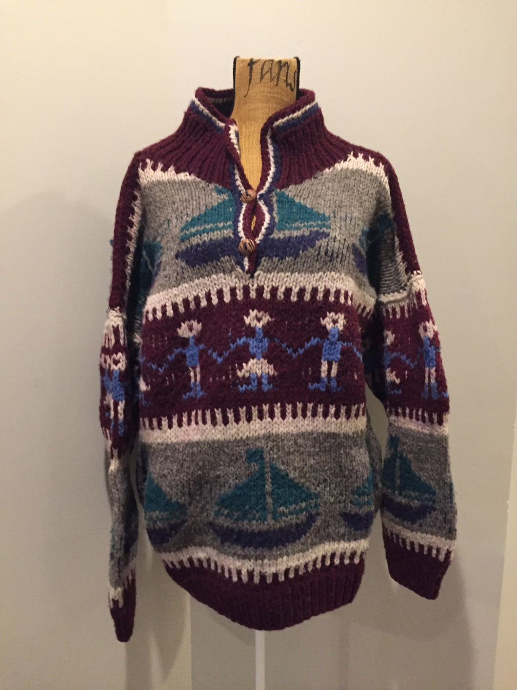 Amos & Andes Imports Multi-Coloured Wool Sweater with Sailboat Motif