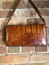 Load image into Gallery viewer, Kingspier Vintage - Vintage Tropical Bag Co. Alligator handbag with leather stitching and adjustable strap and inside zip pocket.