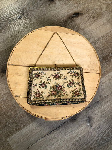 Tapestry handbag with brass chain and hardware. Made in West Germany.