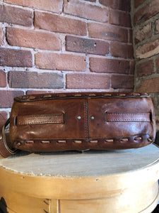 Kingspier Vintage - Hand tooled leather saddle bag with leather stitching, adjustable strap and brass front clasp.
