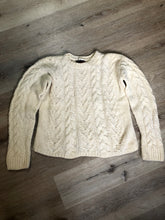 Load image into Gallery viewer, Kingspier Vintage - Dino Pisani cream coloured hand knit, cable knit wool jumper. Made in Italy. Size small.
