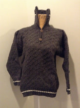 Load image into Gallery viewer, Casbah imports wool sweater in grey with black and white stripe and two buttons at the collar. Size medium.