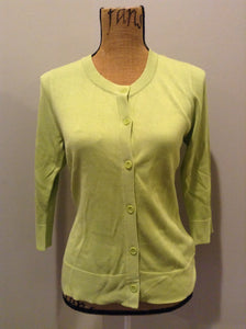 Coldwater Creek 75% silk blend cardigan in green. Size small.