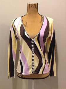 Kingspier Vintage - Pierri New York cardigan in yellow, black, white, purple and brown. Size medium.