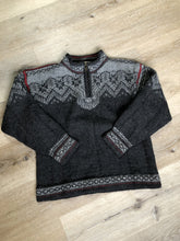 Load image into Gallery viewer, Handmade grey, red and white wool Norwegian style quarter zip sweater.