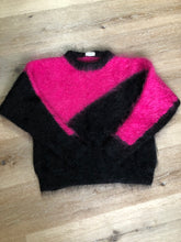 Load image into Gallery viewer, Kingspier Vintage - Hand knit hot pink and black mohair sweater with dolman sleeves. Size medium.