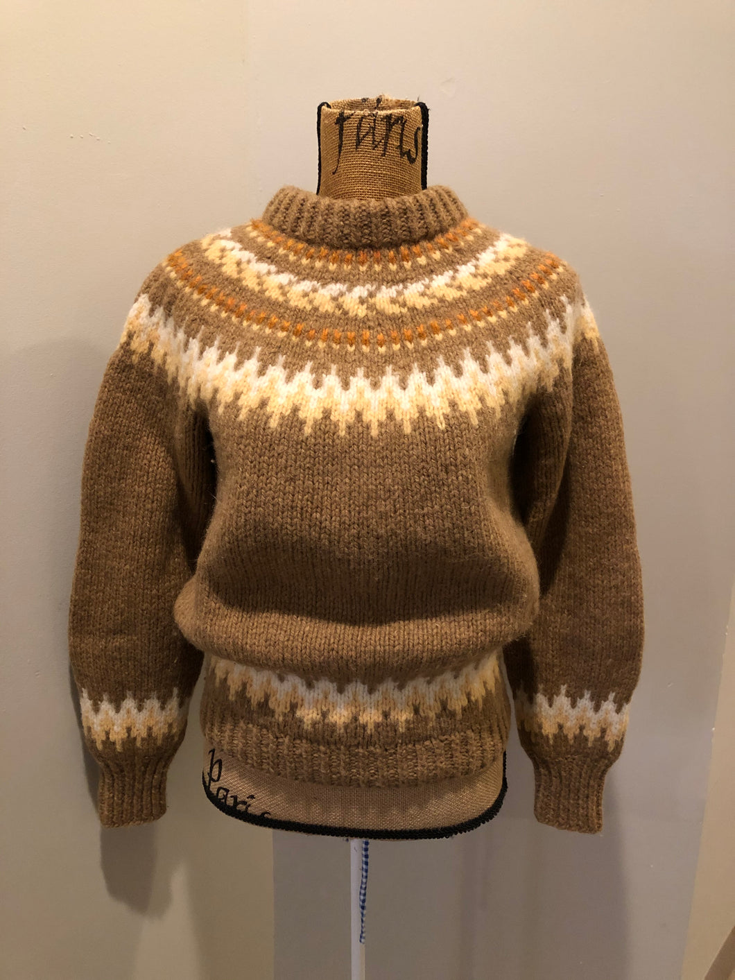 Kingspier Vintage - Handknit wool lopi sweater with browns, cream and yellow design. Made in Scotland. Size small/ XS.